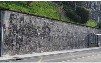 Stödmur i gamla stan i Genéve